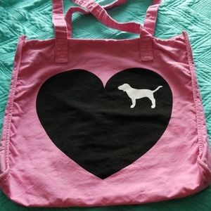 PINK Heart and Dog Canvas Large Tote